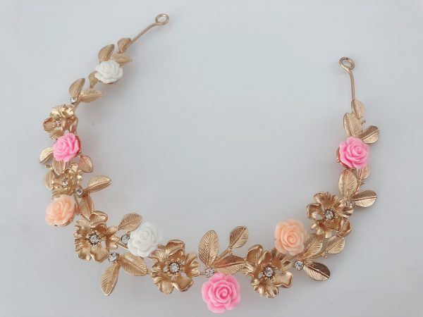 Women Lady White Pink Flower Gold Leaf Metallic Wedding Bride Party Gold Color Hair Head Band Headband Accessory Tiara Garland Hairpiece
