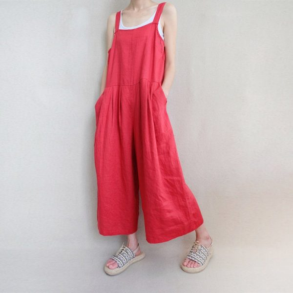 Women Leisure Linen Jumpsuits Baggy Overalls Wide Leg Pants, Comfortable Summer Clothing Loose With Pockets