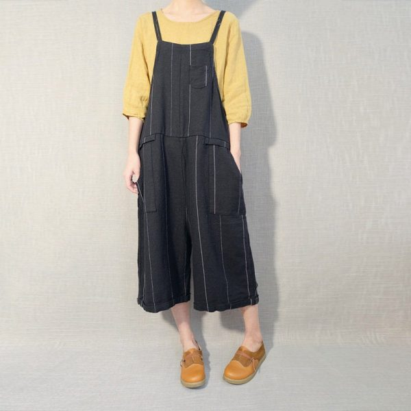 Women Leisure Stripe Linen Jumpsuits Cotton Overalls, Comfortable Wide Leg Pants Summer Casual Overalls Strap Bib With Pockets