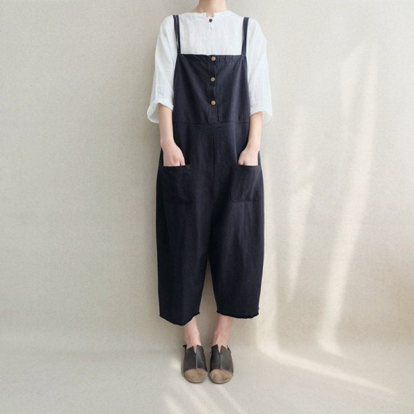 Women Loose Black Linen Jumpsuits Overalls Pants With Pockets, Summer Casual Legging
