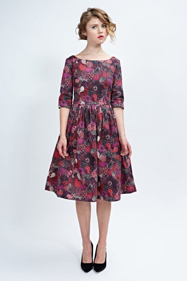 Women Red Dress, Floral Vintage Style 1950's Swing Midi Flare Cocktail Party Retro