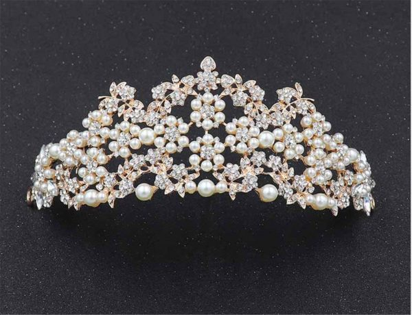 Women Wedding Bride White Crystal Rhinestone Rose Gold With Pearl Prom Party Tiara Crown Hair Jewelry Accessory