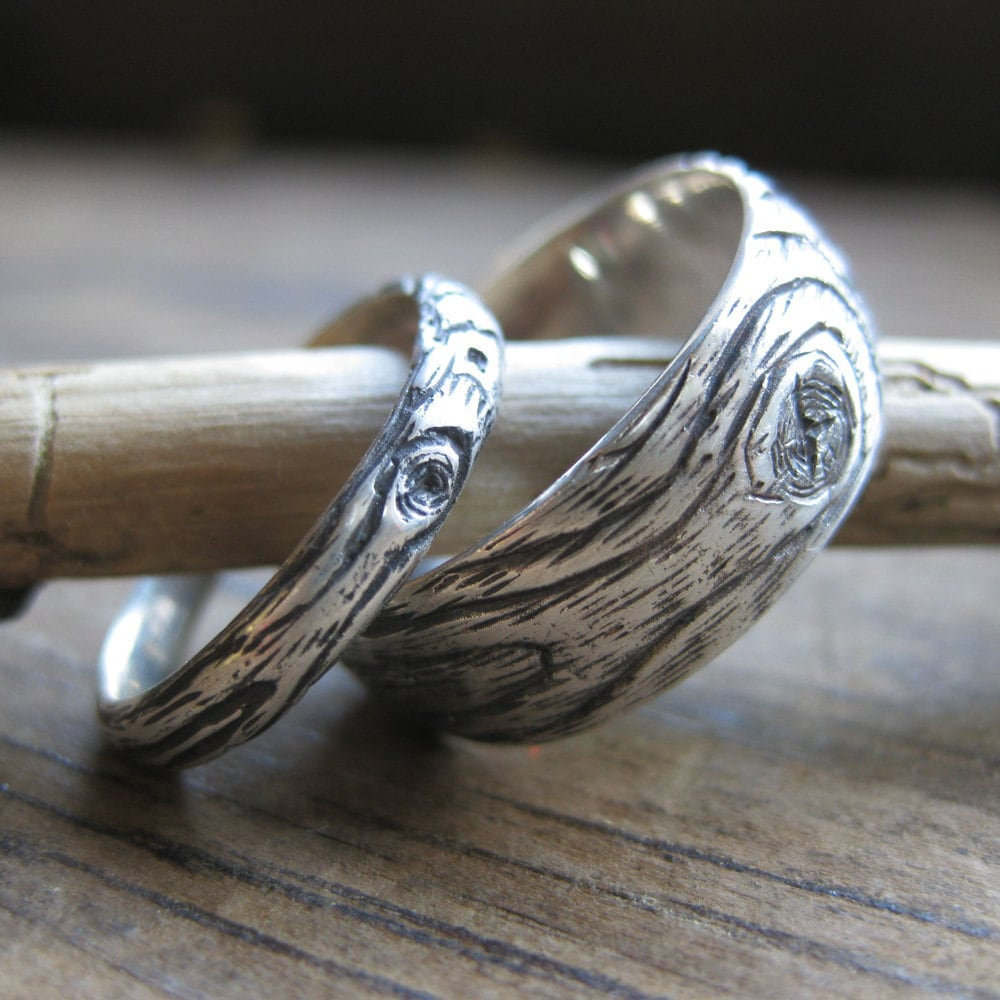 Wood Grain Wedding Ring Set Plywood Sterling Silver His & Hers Faux Bois Twig Branch Rings Made To Order