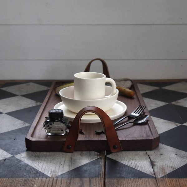 Wood Serving Tray With Leather Handles, Housewarming Gift, Entertaining By Peg & Awl | Watson