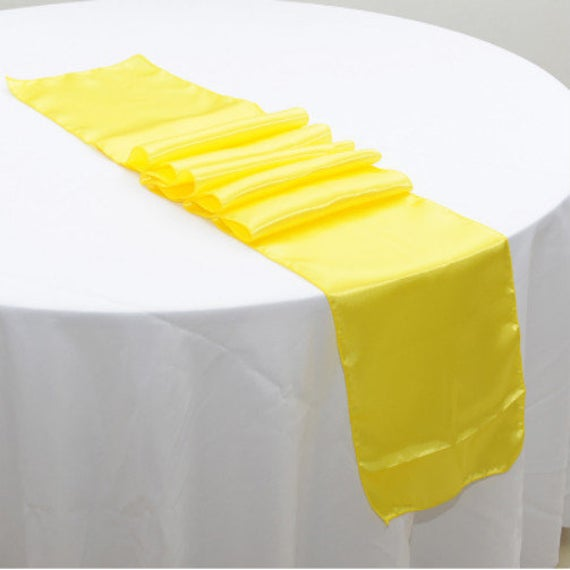 Yellow Satin Table Runners Wedding Banquet Ceremony Feast Birthday Anniversary Sheer Sashes Party Dining Decorations From 5Pcs
