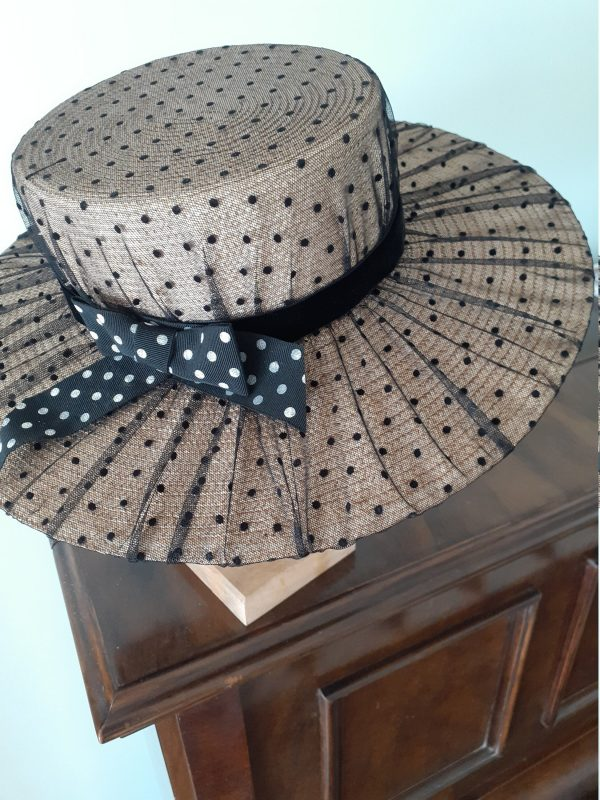 straw & Black Spotted Tulle Boater Hat