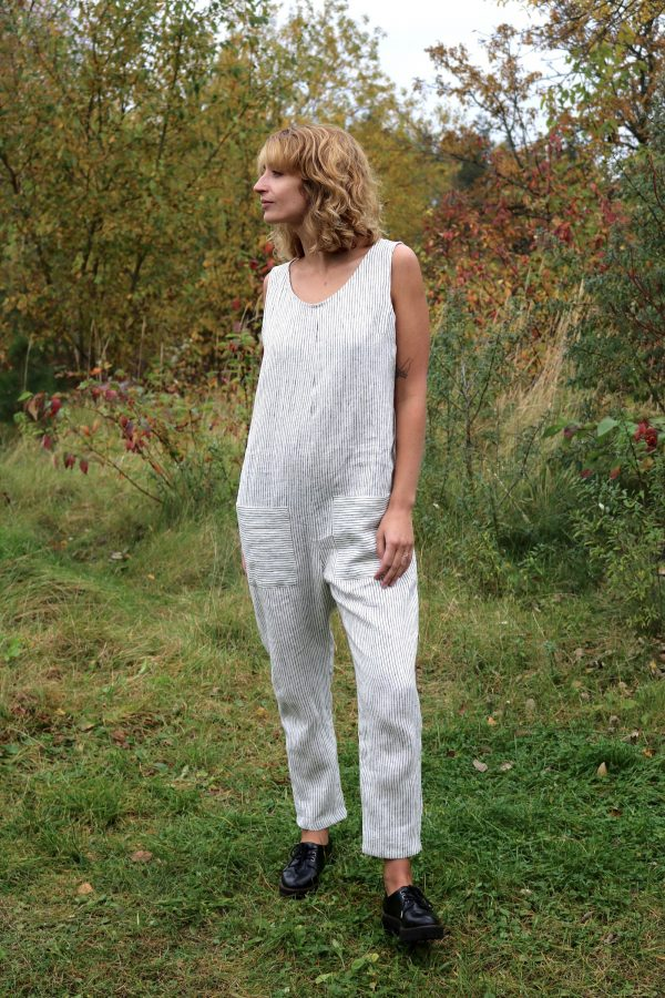 striped Linen Sleeveless Jumpsuit/Washed Crop Romper Offon Clothing