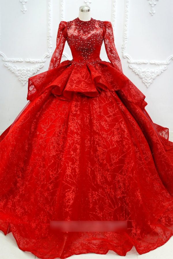 stunning Red Beaded Princess Wedding Dress With Long Sleeves & High Neck, Made To Order Red Lace Bridal Gown For A Fairy Tail