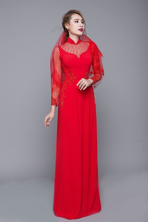 stunning Red Custom Tailored Wedding Ao Dai With Detachable Cape Veil, Traditional Vietnamese Raglan Dress For Bride Made To Order
