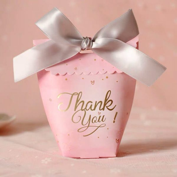 100x Pink Thank You Wedding Favour Gift Boxes | Bridal Shower Sweet 16 Birthday Party Bags Buffet Cafe Bar Take Away Candy