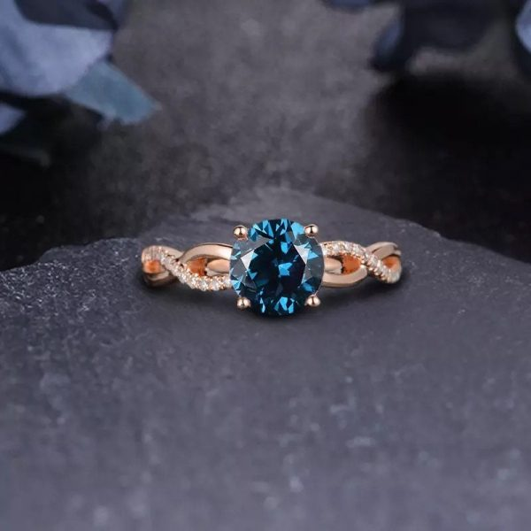 14K Solid Gold 2.0Ct Round Cut London Blue Topaz Engagement Ring Wedding
