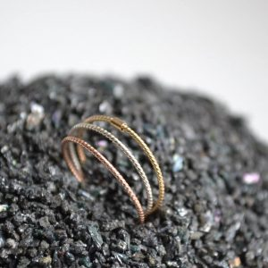 14K Solid Gold & Silver Stacking Rings - Three Stacking Ring Set, Wedding Bands