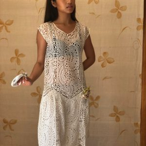 1920S Handstitched Broderie Anglais & Lace Bride Dress