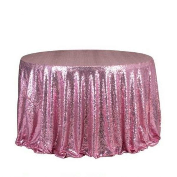 1Pcs Pink Glitter Sequin Tablecloth Engagement Anniversary Reception Ceremony Birthday Wedding Cake Table Cover Party Backdrop Decoration