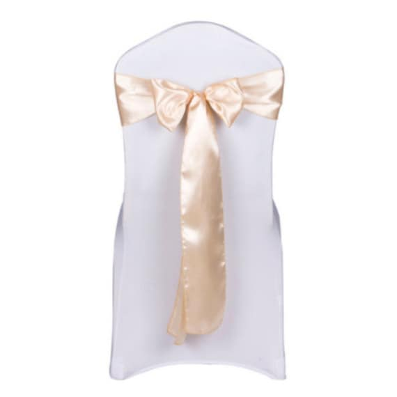 25-200Pcs Champagne Satin Chair Sashes Bows Ties Ribbon Table Runners Wedding Engagement Anniversary Reception Ceremony Bouquet Decoration