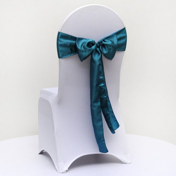 25-200Pcs Teal Blue Satin Chair Sashes Ties Bows Ribbon Table Runners Wedding Engagement Event Reception Ceremony Function Decoration