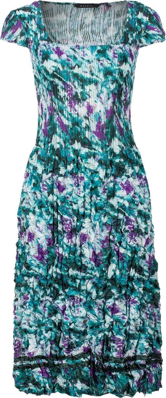 3D Pleated Dress, Wedding Guest, Special Occasion, Easy Fit, Care, Teal Print