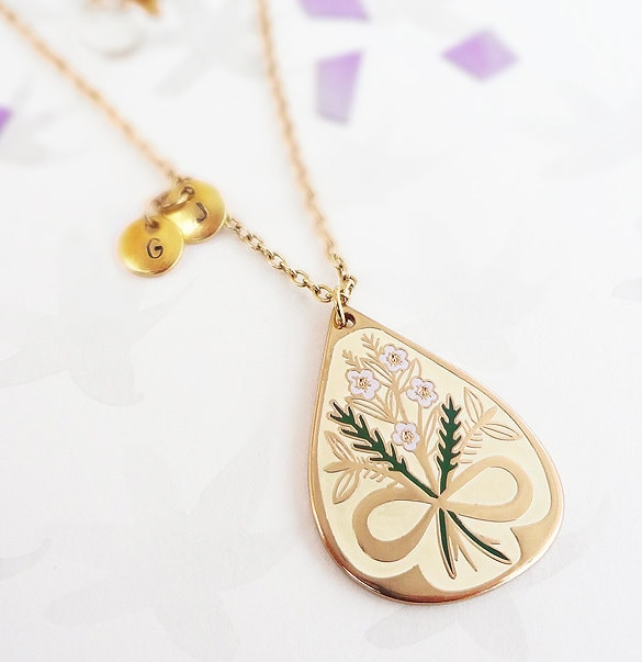 Always Together Pendant - Gold, Bridal Jewellery, Wedding Necklace, Symbolic Floral Necklace