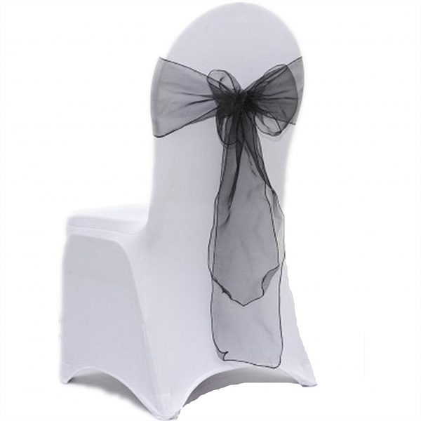 Black Organza Chair Sashes Bows Ties Ribbon Engagement Wedding Birthday Party Venue Dinning Decoration From 100Pcs