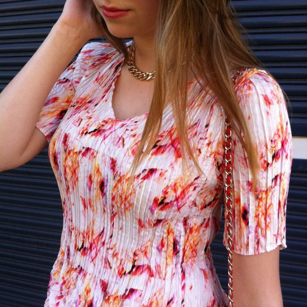 Colourful White/Pink Abstract Print Pleated Dress, Wedding, Special Occasion
