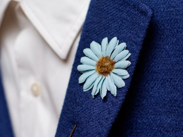 Daisy Lapel Pin, Fabric Flower Boutonniere, Men Wedding Suit Accessory, Dasiy Pin Brooch