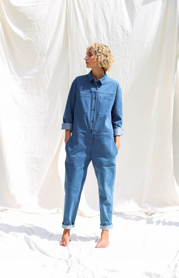 Denim Long Sleeve Utility Coverall Ambre Offon Clothing
