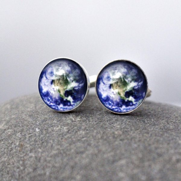 Earth Planet Cuff Links - Galaxy Accessories Pale Blue Dot Space Cufflinks, Science Wedding, Solar System, Fathers Day, Groomsmen