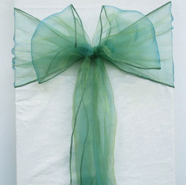 Emerald Green Organza Chair Sashes Bow Tie Ribbon Engagement Wedding Birthday Baby Shower Baptism Party Venue Decoration From 100Pcs