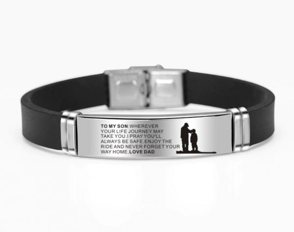 From Dad To Son Bracelet Wristband Gift With Love Message For Xmas Birthday Wedding College Graduation Christmas