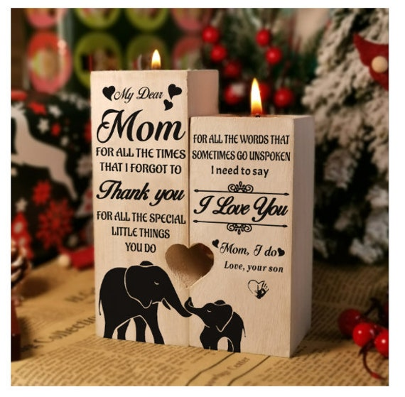 From Son Christmas Gift To Mom Candle Holder Son For 2021 Mother Birthday Xmas Wedding Anniversary Mother's Day Gifts