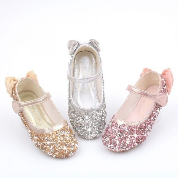 Girls Glitter Bow Flat Shoes, Princess Sequin Sparkly Bling Shoes Rhinestone, Toddler Costume Cosplay