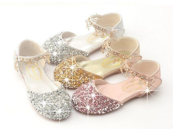 Girls Glitter Flat Shoes, Princess Sequin Sparkly Bling Shoes Rhinestone Toddler Dress Up Costume Cosplay