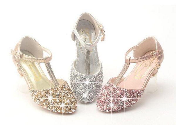 Girls Glitter Pearl Heel Shoes, Princess Sequin Sparkly Bling Shoes Rhinestone Toddler Shoes, Costume Shoes, Latin Dance