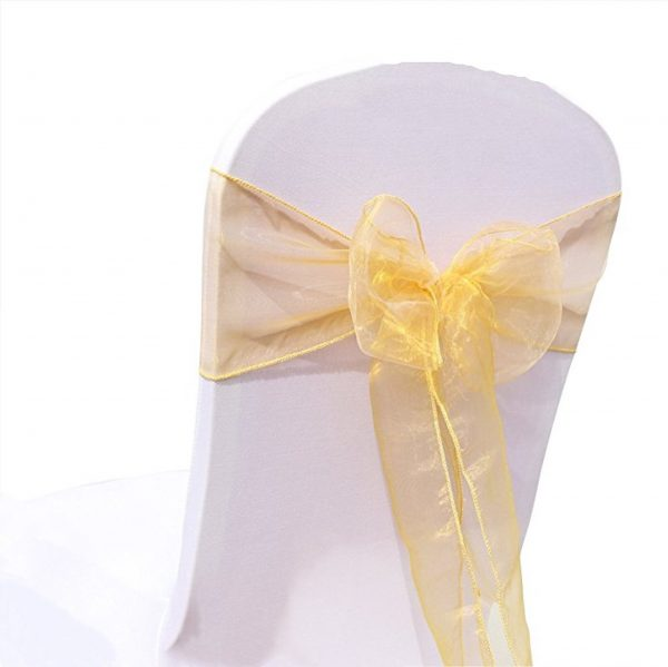Gold Organza Chair Sashes Bow Tie Ribbon Engagement Wedding Birthday Baby Shower Christening Party Venue Decoration From 100Pcs