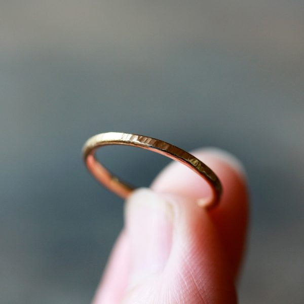 Gold Wedding Band, Solid 14K Hammered Ring, Tree Bark Texture Ring