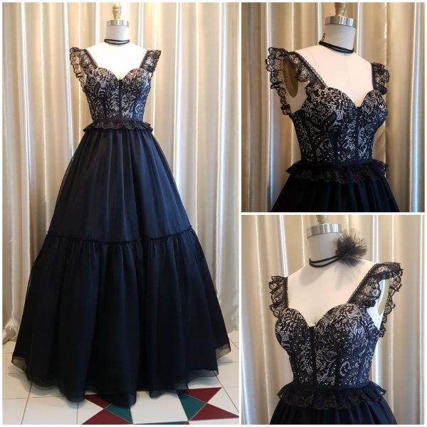 Gothic Formal Black Lace Dress Made in Australia By Nate - Free Shipping