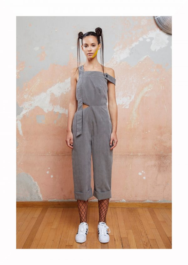 Gray Jumpsuit With Asymmetrical Cuts