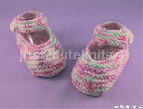 Hand Knitted Baby Girl Booties Mary Jane 6 - 9 Months #125