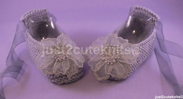 Hand Knitted Designer Baby Girl Ballet Booties Lace Flower 6 - 9 Months Special Occasion Original