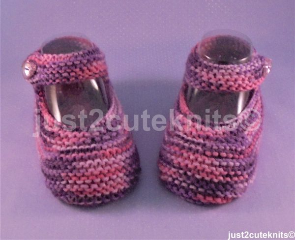 Larger Size Hand Knitted Baby Girl Booties Mary Jane 9 - 13 Months