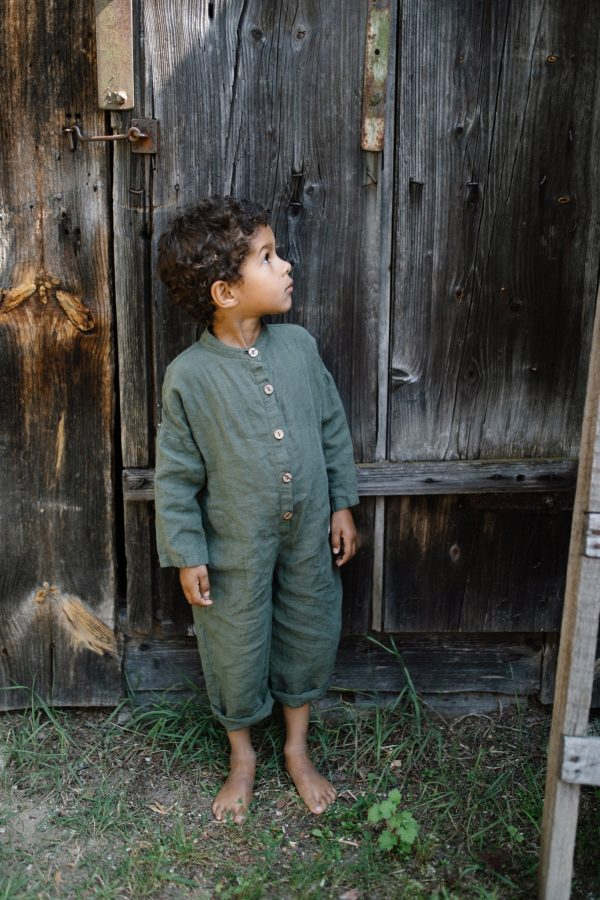 Linen Jumpsuit/Kids Overall With Long Sleeves - June