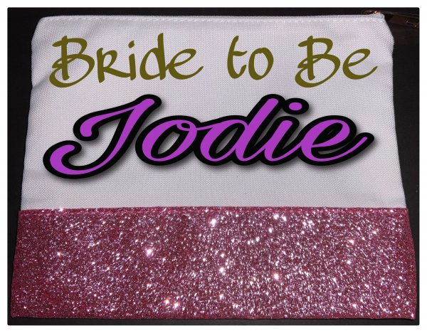 Make Up Bags /Wedding Gifts, Cosmetics, Personalised, Glitter, Brand New
