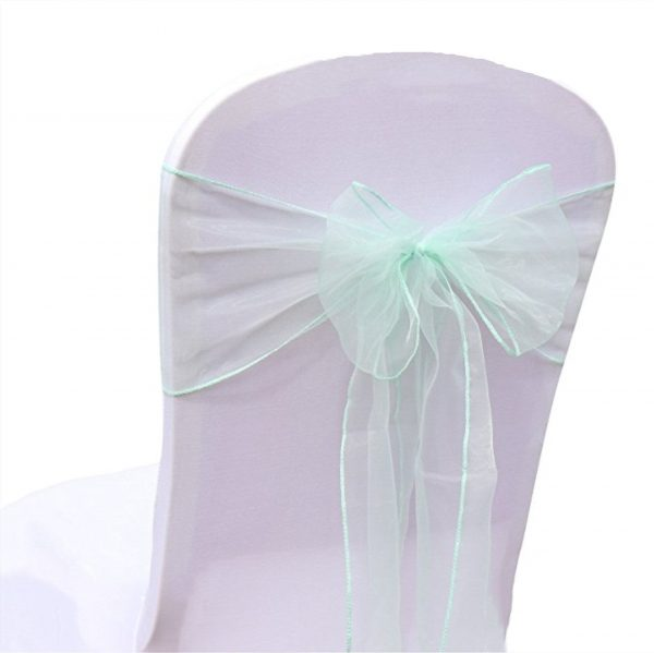 Mint Green Organza Chair Sashes Bow Tie Ribbon Engagement Wedding Birthday Baby Shower Christening Party Venue Decoration From 100Pcs