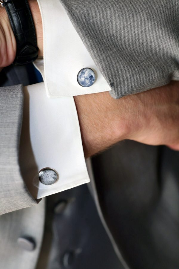 Moon Cuff Links - Dark Far Side Of The Gifts For Men, Space Cufflinks, Science Wedding, Stars, Fathers Day