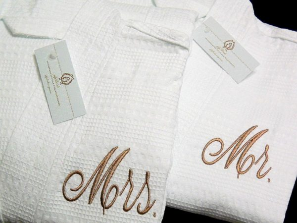 Mr & Mrs Robes, Spa Cotton Anniversary Gift, Personalized Wedding Set Of 2 Jfybride