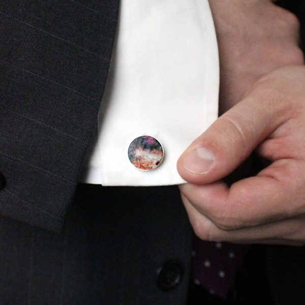 Omega Nebula Cuff Links - Galaxy Gifts For Men, Dad, Space Cufflinks, Science Wedding, Colorful Cosmos, Stars, Fathers Day