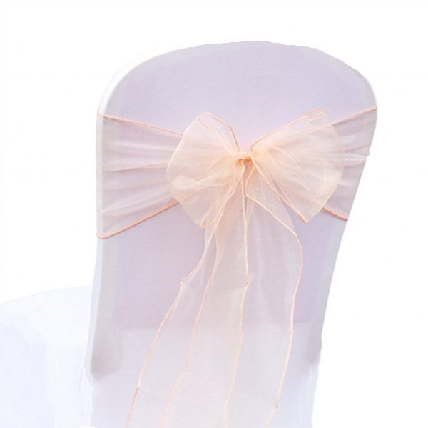 Peach Organza Chair Sashes Bows Ties Ribbon Engagement Wedding Birthday Baby Shower Christening Party Venue Decoration From 100Pcs