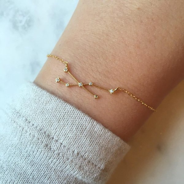 Personalized Jewelry Gift, Zodiac Jewelry, Gold Bracelet, Sign Constellation Celestial Wedding Party Gifts