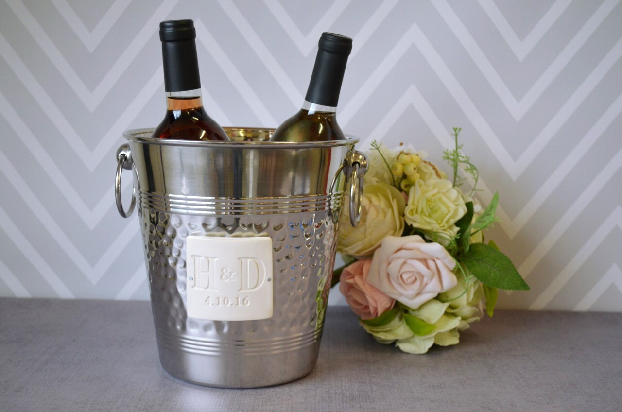 Personalized Wedding Gift Or Anniversary - Hammered Stainless Steel Wine Bucket Wtih Initials