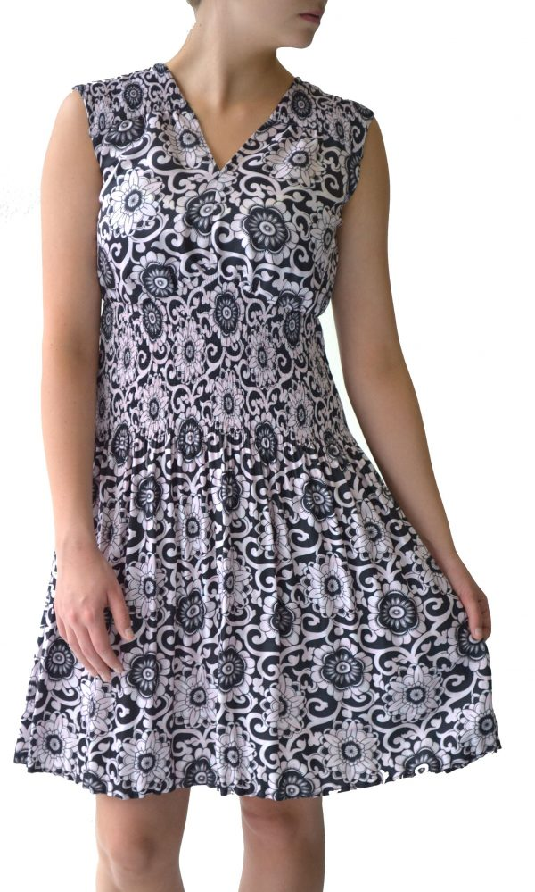 Pleated Dress, Wedding Guest, Special Occasion, Easy Fit, Black/Blush Print